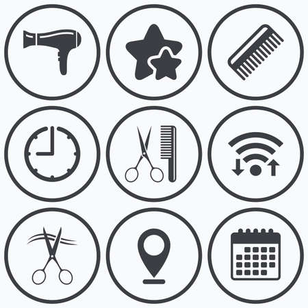 comb hair: Clock, wifi and stars icons. Hairdresser icons. Scissors cut hair symbol. Comb hair with hairdryer sign. Calendar symbol.