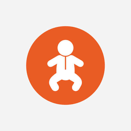 crawlers: Baby infant sign icon. Toddler boy in pajamas or crawlers body symbol. Child WC toilet. Orange circle button with icon. Vector Illustration