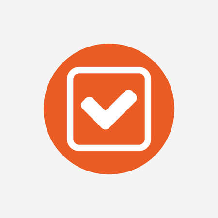 confirm: Check mark sign icon. Yes square symbol. Confirm approved. Orange circle button with icon. Vector
