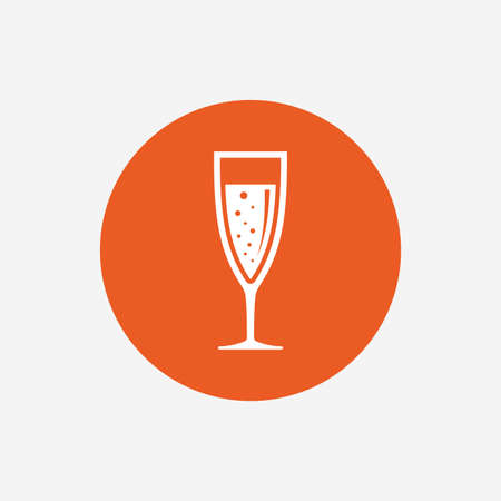 champagne orange: Glass of champagne sign icon. Sparkling wine with bubbles. Celebration or banquet alcohol drink symbol. Orange circle button with icon. Vector
