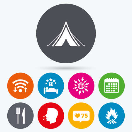 breakfast in bed: Wifi, like counter and calendar icons. Food, sleep, camping tent and fire icons. Knife and fork. Hotel or bed and breakfast. Road signs. Human talk, go to web.