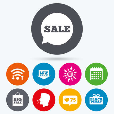 talk big: Wifi, like counter and calendar icons. Sale speech bubble icon. Black friday gift box symbol. Big sale shopping bag. Low price arrow sign. Human talk, go to web.