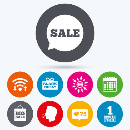 talk big: Wifi, like counter and calendar icons. Sale speech bubble icon. Black friday gift box symbol. Big sale shopping bag. First month free sign. Human talk, go to web.