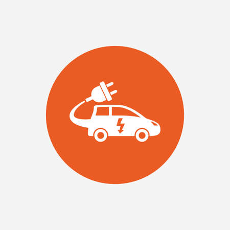 hatchback: Electric car sign icon. Hatchback symbol. Electric vehicle transport. Orange circle button with icon. Vector