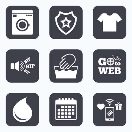 washhouse: Mobile payments, wifi and calendar icons. Wash machine icon. Hand wash. T-shirt clothes symbol. Laundry washhouse and water drop signs. Not machine washable. Go to web symbol.