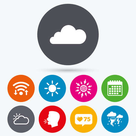 gale: Wifi, like counter and calendar icons. Weather icons. Cloud and sun signs. Storm or thunderstorm with lightning symbol. Gale hurricane. Human talk, go to web. Illustration