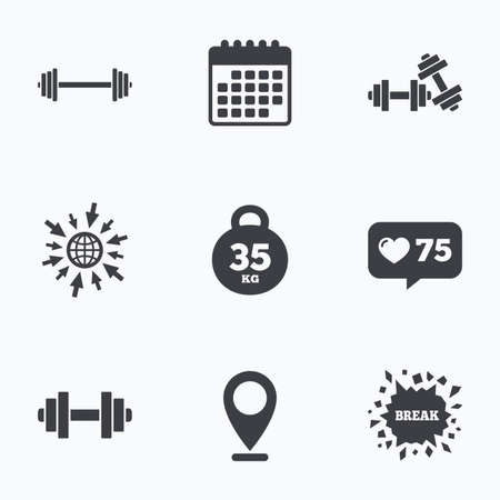 heavy heart: Calendar, like counter and go to web icons. Dumbbells sign icons. Fitness sport symbols. Gym workout equipment. Location pointer.
