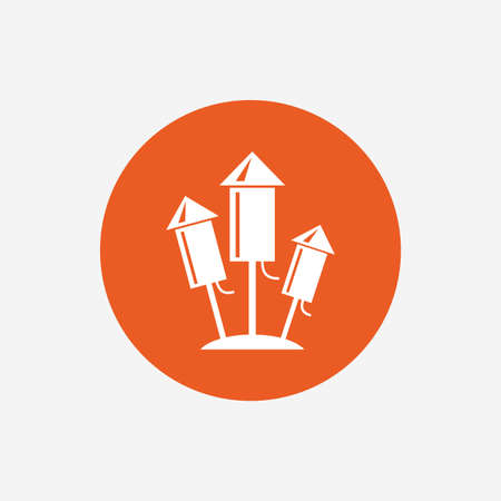 pyrotechnic: Fireworks rockets sign icon. Explosive pyrotechnic device symbol. Orange circle button with icon. Vector