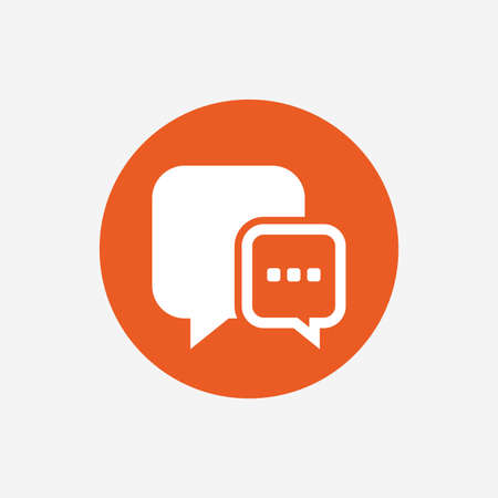 three points: Chat sign icon. Speech bubble with three dots symbol. Communication chat bubble. Orange circle button with icon. Vector
