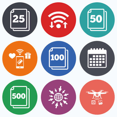 units: Wifi, mobile payments and drones icons. In pack sheets icons. Quantity per package symbols. 25, 50, 100 and 500 paper units in the pack signs. Calendar symbol. Illustration