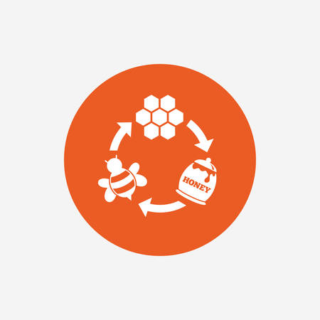 beeswax: Producing honey and beeswax sign icon. Honeycomb cells symbol. Honey in pot. Sweet natural food cycle in nature. Orange circle button with icon. Vector