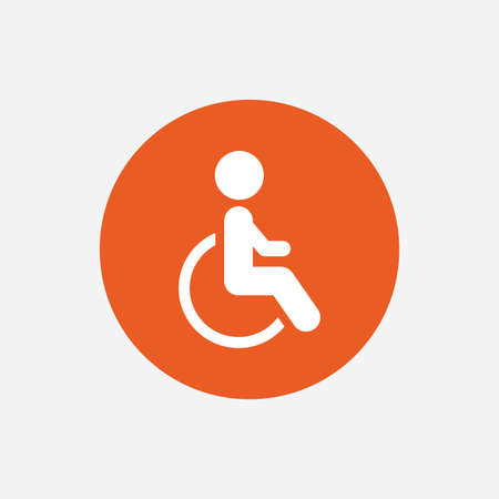 handicapped: Disabled sign icon. Human on wheelchair symbol. Handicapped invalid sign. Orange circle button with icon. Vector