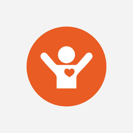 Fans love icon. Man raised hands up sign. Orange circle button with icon. Vector Vektorové ilustrace