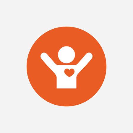 icono deportes: Los aficionados aman icono. El hombre levantó las manos encima de la muestra. botón círculo con el icono de color naranja. Vector
