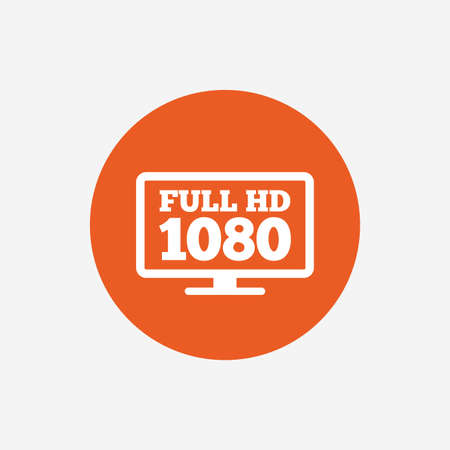 Full hd widescreen tv sign icon. 1080p symbol. Orange circle button with icon. Vector Illustration