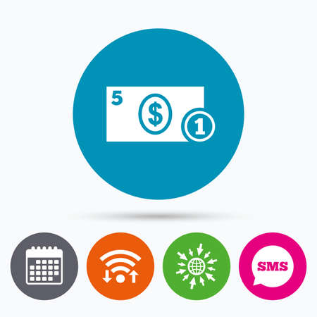 sms payment: Wifi, Sms and calendar icons. Cash sign icon. Dollar Money symbol. USD Coin and paper money. Go to web globe.