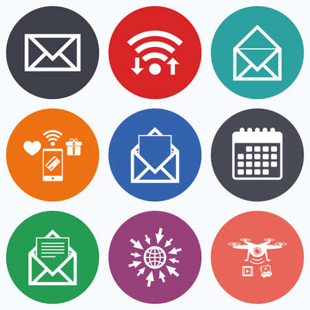 webmail: Wifi, mobile payments and drones icons. Mail envelope icons. Message document symbols. Post office letter signs. Calendar symbol. Illustration