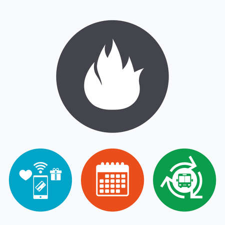 fire escape: Fire flame sign icon. Fire symbol. Stop fire. Escape from fire. Mobile payments, calendar and wifi icons. Bus shuttle.