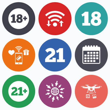 18 20 years: Wifi, mobile payments and drones icons. Adult content icons. Eighteen and twenty-one plus years sign symbols. Calendar symbol.