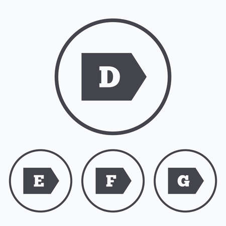 energy consumption: Energy efficiency class icons. Energy consumption sign symbols. Class D, E, F and G. Icons in circles.