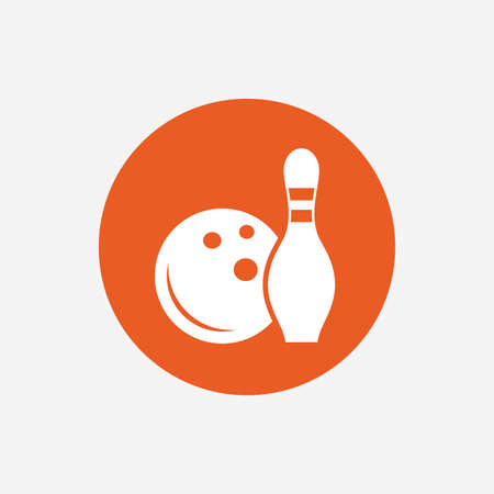 skittle: Bowling game sign icon. Ball with pin skittle symbol. Orange circle button with icon. Vector