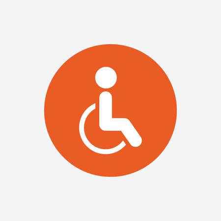 invalid: Disabled sign icon. Human on wheelchair symbol. Handicapped invalid sign. Orange circle button with icon. Vector