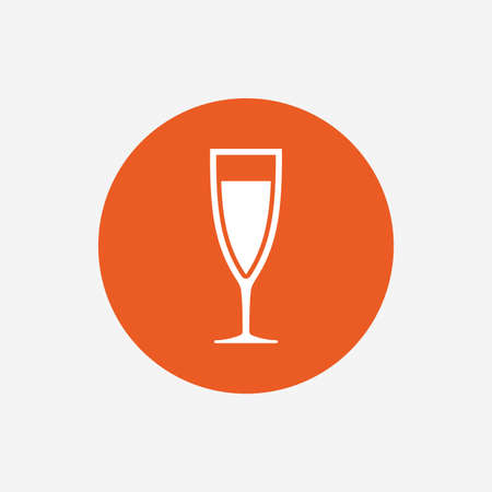 champagne celebration: Glass of champagne sign icon. Sparkling wine. Celebration or banquet alcohol drink symbol. Orange circle button with icon. Vector Illustration