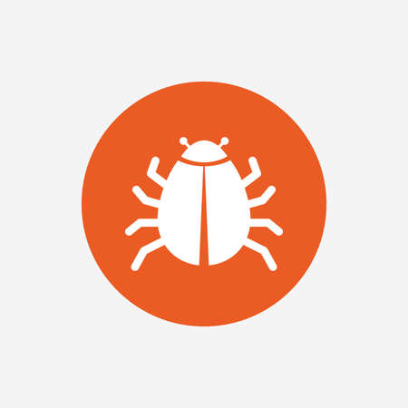disinfection: Bug sign icon. Virus symbol. Software bug error. Disinfection. Orange circle button with icon. Vector Illustration