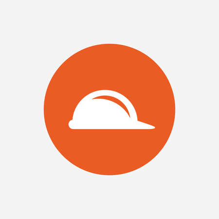 Hard hat sign icon. Construction helmet symbol. Orange circle button with icon. Vector
