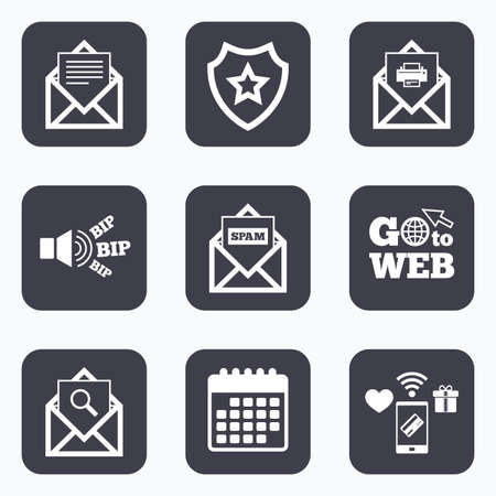 webmail: Mobile payments, wifi and calendar icons. Mail envelope icons. Print message document symbol. Post office letter signs. Spam mails and search message icons. Go to web symbol.