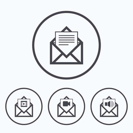 webmail: Mail envelope icons. Message document symbols. Video and Audio voice message signs. Icons in circles.