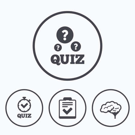 poll: Quiz icons. Human brain think. Checklist and stopwatch timer symbol. Survey poll or questionnaire feedback form sign. Icons in circles.