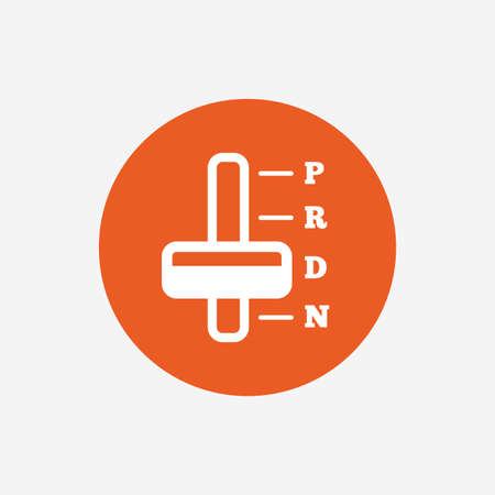 Automatic transmission sign icon. Auto car control symbol. Orange circle button with icon. Vector