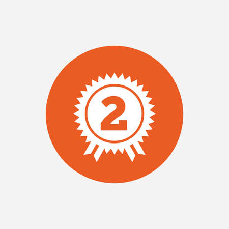 second: Second place award sign icon. Prize for winner symbol. Orange circle button with icon. Vector