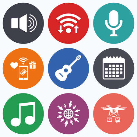 sound speaker: Wifi, mobile payments and drones icons. Musical elements icons. Microphone and Sound speaker symbols. Music note and acoustic guitar signs. Calendar symbol.