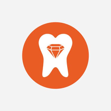 prestige: Tooth crystal icon. Tooth jewellery sign. Dental prestige symbol. Orange circle button with icon. Vector