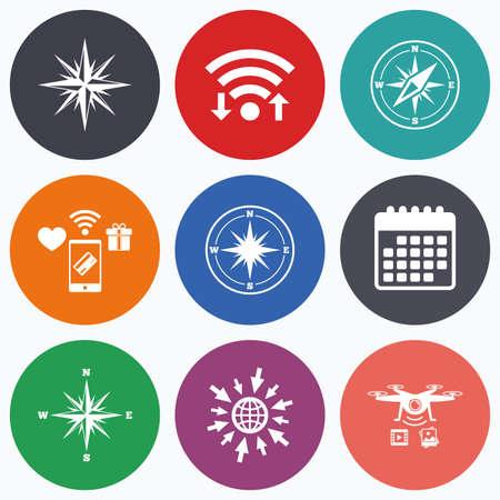 coordinate: Wifi, mobile payments and drones icons. Windrose navigation icons. Compass symbols. Coordinate system sign. Calendar symbol. Illustration