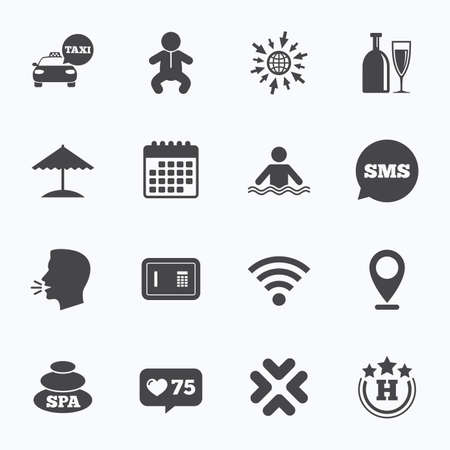 counter service: Calendar, go to web and like counter. Hotel, apartment service icons. Spa, swimming pool signs. Alcohol drinks, wifi internet and safe symbols. Sms speech bubble, talk symbols. Illustration