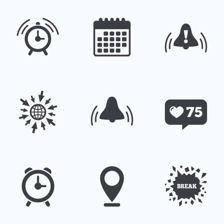 rang: Calendar, like counter and go to web icons. Alarm clock icons. Wake up bell signs symbols. Exclamation mark. Location pointer. Illustration