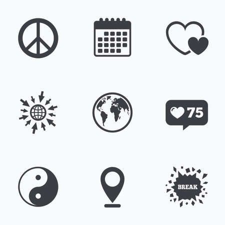 zen like: Calendar, like counter and go to web icons. World globe icon. Ying yang sign. Hearts love sign. Peace hope. Harmony and balance symbol. Location pointer. Illustration