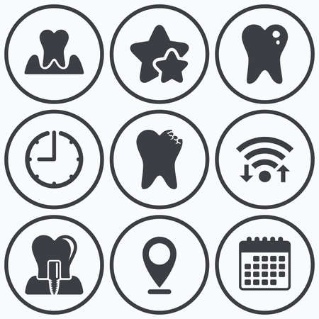 gingivitis: Clock, wifi and stars icons. Dental care icons. Caries tooth sign. Tooth endosseous implant symbol. Parodontosis gingivitis sign. Calendar symbol.