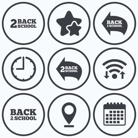 after school: Clock, wifi and stars icons. Back to school icons. Studies after the holidays signs symbols. Calendar symbol.