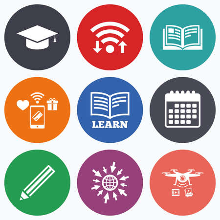 higher: Wifi, mobile payments and drones icons. Pencil and open book icons. Graduation cap symbol. Higher education learn signs. Calendar symbol.