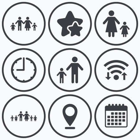 big timer: Clock, wifi and stars icons. Large family with children icon. Parents and kids symbols. One-parent family signs. Mother and father divorce. Calendar symbol. Illustration