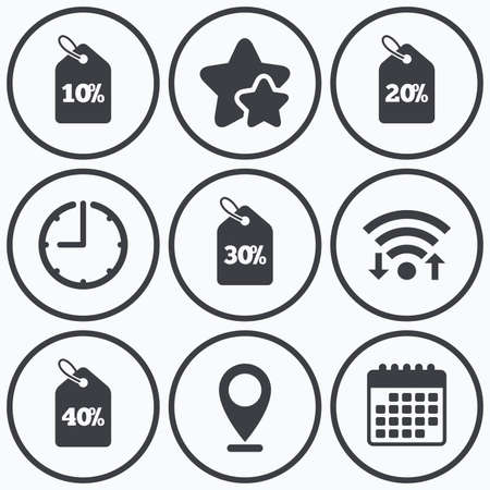 20 30: Clock, wifi and stars icons. Sale price tag icons. Discount special offer symbols. 10%, 20%, 30% and 40% percent discount signs. Calendar symbol.