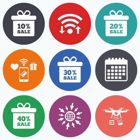 20 30: Wifi, mobile payments and drones icons. Sale gift box tag icons. Discount special offer symbols. 10%, 20%, 30% and 40% percent sale signs. Calendar symbol.