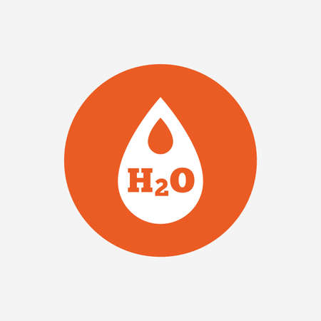 tear drop: H2O Water drop sign icon. Tear symbol. Orange circle button with icon. Vector