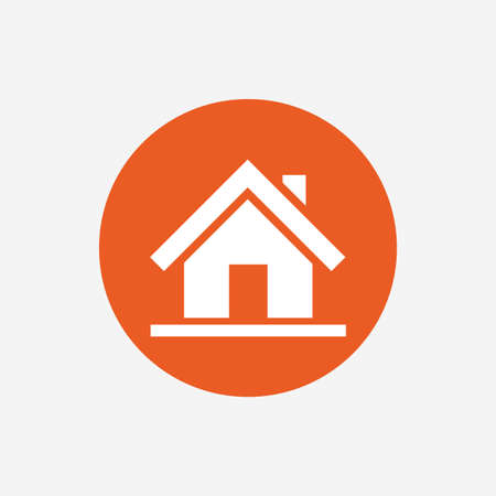 main: Home sign icon. Main page button. Navigation symbol. Orange circle button with icon. Vector Illustration