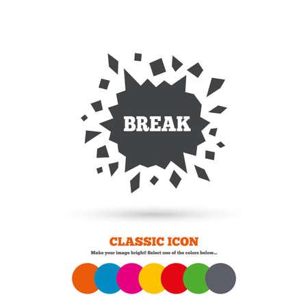 smashed: Break it sign. Cracked hole icon. Smashed wall symbol. Classic flat icon. Colored circles. Illustration