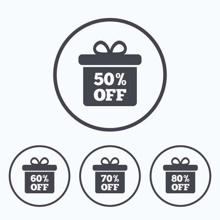 50 to 60: Sale gift box tag icons. Discount special offer symbols. 50%, 60%, 70% and 80% percent off signs. Icons in circles. Illustration
